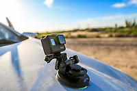 Kia Forte and GoPro action camera in the desert of Sonora Mexico. White car on dirt road. travel outdoors..Sonora desert.<br /> Kia Forte y camara de accion GoPro en el desierto de Sonora Mexico. auto blanco en camino de terraceria. viaje, outdoors,<br /> (Photo:LuisGutierrez/NortePhoto.com)