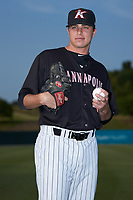 Kannapolis Intimidators pitcher Sam Long (28) poses for a photo prior to the game against the Delmarva Shorebirds at Kannapolis Intimidators Stadium on June 3, 2019 in Kannapolis, North Carolina. The Shorebirds defeated the Intimidators 5-3. (Brian Westerholt/Four Seam Images)