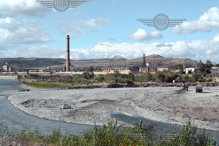 An industrial landscape seen from the train journey from Batumi to Tbilisi.