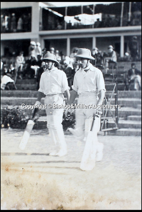 BNPS.co.uk (01202 558833)<br /> Pic: Bishop&MillerAuctioneers/BNPS<br /> <br /> Walters and Mitchell the opening batsmen for the M.C.C.<br /> <br /> A fascinating album of photographs showing the first England cricket tour of India and the last for controversial 'Bodyline' captain Douglas Jardine has been discovered.<br /> <br /> The rare black and white images show the England star leading the national side at the new cricket ground in Delhi that the colonial British had built in 1933 - the same year as the brutal Ashes series.<br /> <br /> Jardine is featured in many photos as is the Viceroy of India. The album is being sold by auctioneers Bishop and Miller of Suffolk.