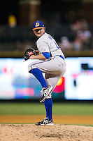 Durham Bulls relief pitcher Kirby Yates (40) in action against the Charlotte Knights at BB&T BallPark on July 22, 2015 in Charlotte, North Carolina.  The Knights defeated the Bulls 6-4.  (Brian Westerholt/Four Seam Images)