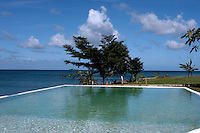 View of Rhodes Hall Plantation pool, with a view of the ocean. Photo by Errol Anderson.