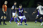 Ilias Kosmidis (7) of the High Point Panthers controls the ball during first half action against the Wake Forest Demon Deacons at W. Dennie Spry Soccer Stadium on October 9, 2018 in Winston-Salem, North Carolina. The Demon Deacons defeated the Panthers 4-2.  (Brian Westerholt/Sports On Film)