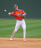 Second baseman Steve Wilkerson (17) of the Clemson Tigers prior to a game against the South Carolina Gamecocks on Saturday, March 2, 2013, at Fluor Field at the West End in Greenville, South Carolina. Clemson won the Reedy River Rivalry game 6-3. (Tom Priddy/Four Seam Images)
