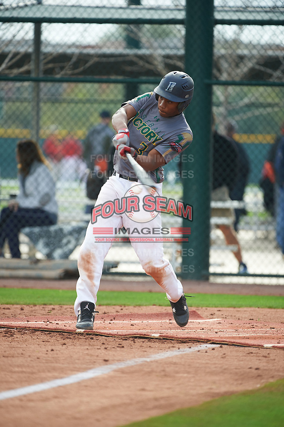 Osiris Johnson (3) of Encinal High School in Alameda, California during the Under Armour All-American Pre-Season Tournament presented by Baseball Factory on January 14, 2017 at Sloan Park in Mesa, Arizona.  (Art Foxall/MJP/Four Seam Images)