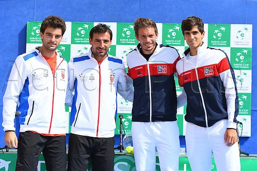 15.09.2016. Zadar, Croatia. Davis Cup tennis. Croatia versus France, meeting and training.  Pierre Hugues Herbert and Nicolas Mahut with Ivan Dodig and Draganga