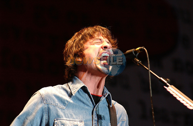 12th July, 2002. Ex-Nirvana man Dave Grohl of the Foo Fighters performs at the `Witnness Music Festival` in Ireland..Mandatory Credit: Photo by Barry Cronin/Newsfile...Picture by:.Newsfile Ltd.The View,.Millmount Abbey,.Drogheda,.Co Meath,.Ireland..Tel: +353-41-9871240.Fax: +353-41-9871260.ISDN: +353-41-9873022.GSM: +353-86-2500958.Email: pictures@newsfile.ie.www.newsfile.ie