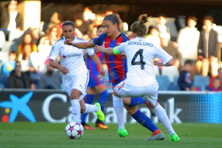 UEFA Women's Champions League 2016/2017.<br /> Quarter Finals.<br /> FC Barcelona vs FC Rosengard: 2-0.<br /> Marta Vieira, Alexia Putellas &amp; Emma Berglund.