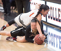 #1 Dru Ishibashi. The Occidental College women's basketball team take on Chapman University in Rush Gym, Jan. 12, 2016.<br /> (Photo by Marc Campos, Occidental College Photographer)