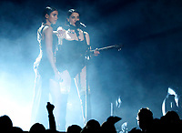Dua Lipa, left, and St. Vincent perform a medley at the 61st annual Grammy Awards on Sunday, Feb. 10, 2019, in Los Angeles. (Photo by Matt Sayles/Invision/AP)