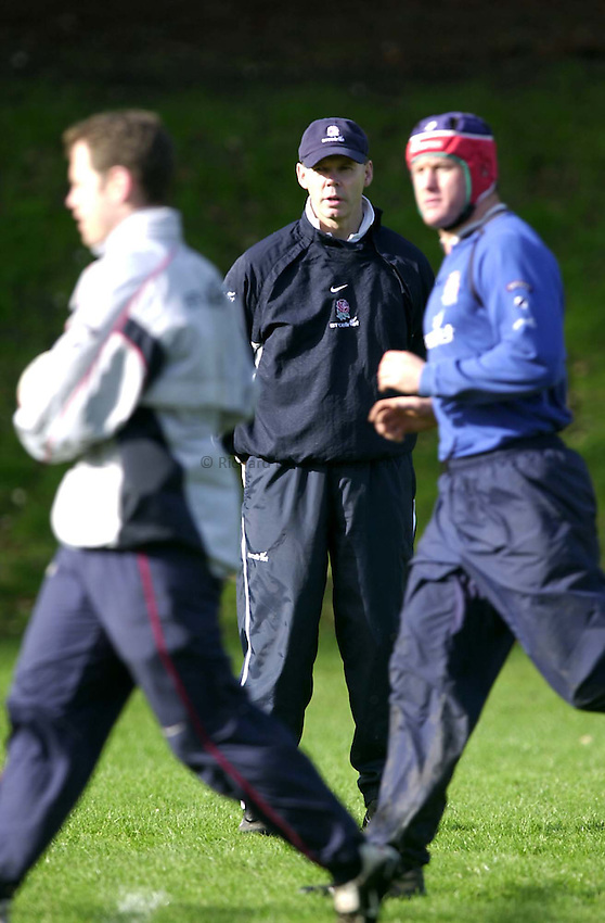 Photo. Richard Lane. .England Squad Training at Pennyhill Hotel, Bagshot.. 27-2-2002.England manager, Clive Woodward watches his men train.