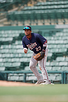 GCL Twins first baseman Yeison Perez (23) during the first game of a doubleheader against the GCL Orioles on August 1, 2018 at CenturyLink Sports Complex Fields in Fort Myers, Florida.  GCL Twins defeated GCL Orioles 7-6 in the completion of a suspended game originally started on July 31st, 2018.  (Mike Janes/Four Seam Images)