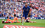 Olivier Giroud of Chelsea celebrates scoring the opening goal of the game during the FA cup semi-final match at Wembley Stadium, London. Picture date 22nd April, 2018. Picture credit should read: Robin Parker/Sportimage