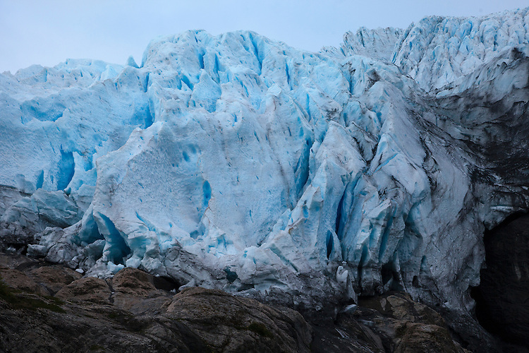 The stunning blue ice of Aguila Glacier in Agostini Sound, Tierra del Fuego, Patagonia