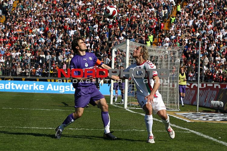 2. FBL 2006/2007 27. Spieltag RŁckrunde<br /> <br /> <br /> <br /> FC Augsburg vs FC Erzgebirge Aue<br /> <br /> <br /> <br /> Zweikampf zwischen Felix Luz (rechts, FCA) und JŲrg Emmerich (links, Aue).<br /> <br /> <br /> <br /> Foto &copy; nph (  nordphoto  )<br /> <br /> <br /> <br /> <br /> <br /> <br /> <br />  *** Local Caption ***