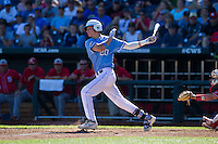 North Carolina Tar Heels outfielder Skyke Bolt #20 bats during Game 3 of the 2013 Men's College World Series between the North Carolina State Wolfpack and North Carolina Tar Heels at TD Ameritrade Park on June 16, 2013 in Omaha, Nebraska. The Wolfpack defeated the Tar Heels 8-1. (Brace Hemmelgarn/Four Seam Images)