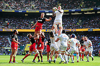 Damian Welch of Exeter Chiefs wins the ball at a lineout. Aviva Premiership Final, between Saracens and Exeter Chiefs on May 28, 2016 at Twickenham Stadium in London, England. Photo by: Patrick Khachfe / JMP