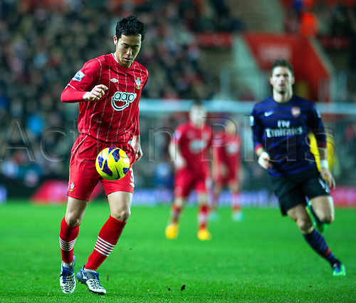 01.01.2013 Southampton, England.  Southampton's Maya Yoshida in action during the Premier League game between Southampton and Arsenal at St Mary's Stadium.