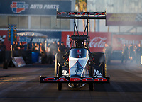 Feb 1, 2018; Chandler, AZ, USA; NHRA top fuel driver Steve Torrence during Nitro Spring Training pre season testing at Wild Horse Pass Motorsports Park. Mandatory Credit: Mark J. Rebilas-USA TODAY Sports