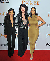 www.acepixs.com<br /> <br /> April 12 2017, LA<br /> <br /> (L-R) Kourtney Kardashian, Singer Cher and Kim Kardashian West arriving at the premiere of 'The Promise' on April 12, 2017 in Hollywood, California<br /> <br /> By Line: Peter West/ACE Pictures<br /> <br /> <br /> ACE Pictures Inc<br /> Tel: 6467670430<br /> Email: info@acepixs.com<br /> www.acepixs.com