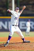 High Point Panthers relief pitcher Jon Carlson (26) in action against the Bowling Green Falcons at Willard Stadium on March 9, 2014 in High Point, North Carolina.  The Falcons defeated the Panthers 7-4.  (Brian Westerholt/Four Seam Images)