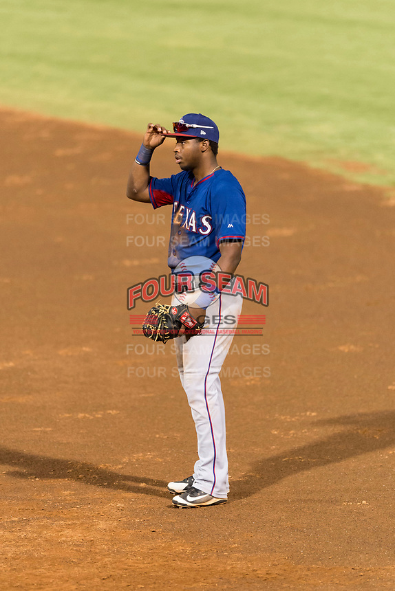 AZL Rangers first baseman Stanley Martinez (29) during an Arizona League playoff game against the AZL Indians 1 at Goodyear Ballpark on August 28, 2018 in Goodyear, Arizona. The AZL Rangers defeated the AZL Indians 1 7-4. (Zachary Lucy/Four Seam Images)