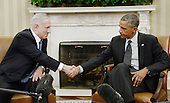 United States President Barack Obama holds a bilateral meeting with Prime Minister Benjamin Netanyahu of Israel in the Oval Office of the White House, Wednesday, October 1, 2014 in Washington, DC.  <br /> Credit: Olivier Douliery / Pool via CNP