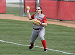 MADISON, WI - APRIL 15: Katie Hnatyk #9 of the Wisconsin Badgers throws the ball against the Purdue Boilermakers at the Goodman Diamond softball field on April 15, 2007 in Madison, Wisconsin. (Photo by David Stluka)