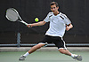 Spencer Lowitt of Syosset returns a volley during the Nassau County varsity boys' tennis doubles consolation final against Alan Delman and Simon Kashfi of Great Neck North at Oceanside High School on Satuday, May 16, 2015.<br /> <br /> James Escher