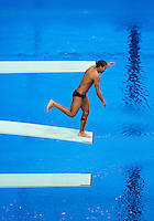 26 JUL 2012 - LONDON, GBR - A competitor practices at the Aquatics Centre in the Olympic Park, Stratford, London, Great Britain ahead of the London 2012 Olympic Games Diving .(PHOTO (C) 2012 NIGEL FARROW)