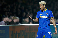 Lyle Taylor of AFC Wimbledon contests the decision of the referee's assistant during the Sky Bet League 1 match between AFC Wimbledon and Charlton Athletic at the Cherry Red Records Stadium, Kingston, England on 10 April 2018. Photo by Carlton Myrie / PRiME Media Images.