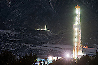 Natural gas drilling rigs scrape the sky in Garfield County, Colo., Saturday, Jan. 15, 2011. More than 400 methane wells have leaked an estimated 30 tons of carcinogenic benzene into the area environment. Pollution regulations are lighter for the gas industry where emissions are considered an isolated case. But in areas of high well density the emissions amount to more than for an oil refinery in an urban area. (Kevin Moloney for the New York Times)