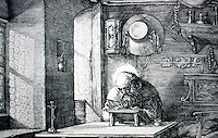 Visual Arts: Albrecht Durer-- St. Jerome in his study, detail.