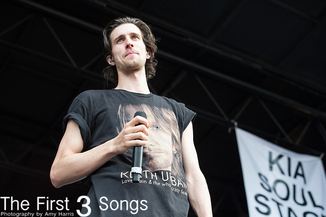 Nathaniel Motte of 3OH!3 performs during the Vans Warped Tour at the Klipsch Music Center in Indianapolis, IN.
