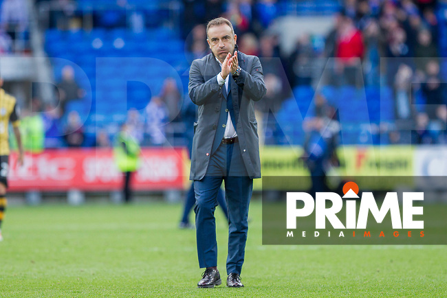 Sheffield Wednesday manager Carlos Carvalhal claps the fans at full time of the Sky Bet Championship match between Cardiff City and Sheffield Wednesday at Cardiff City Stadium, Cardiff, Wales on 16 September 2017. Photo by Mark  Hawkins / PRiME Media Images.