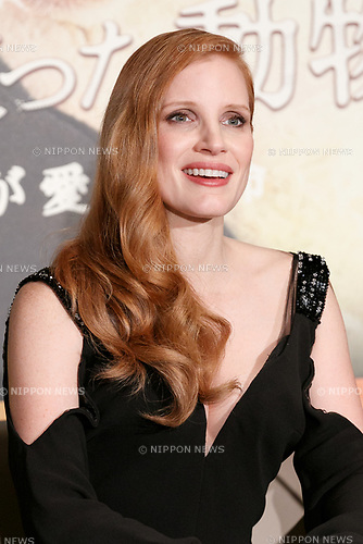 Jessica Chastain attends a press conference for her film The Zookeeper's Wife on November 27, 2017, Tokyo, Japan. Chastain greeted fans during the promotional event for the movie which will be released in Japan on December 15. (Photo by Rodrigo Reyes Marin/AFLO)
