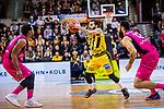 Jordan CRAWFORD (#1 MHP Riesen Ludwigsburg) \Martin BREUNIG (#12 Telekom Baskets Bonn) \Josh MAYO (#14 Telekom Baskets Bonn) \ beim Spiel in der Basketball Bundesliga, MHP Riesen Ludwigsburg - Telekom Baskets Bonn.<br /> <br /> Foto &copy; PIX-Sportfotos *** Foto ist honorarpflichtig! *** Auf Anfrage in hoeherer Qualitaet/Aufloesung. Belegexemplar erbeten. Veroeffentlichung ausschliesslich fuer journalistisch-publizistische Zwecke. For editorial use only.