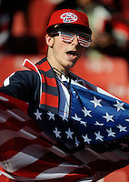 A USA football fan dances. USA vs Slovenia in the 2010 FIFA World Cup at Ellis Park in Johannesburg, South Africa on June 18th, 2010.