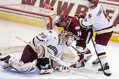 Parker Milner (BC - 35), T.J. Syner (UMass - 14), Philip Samuelsson (BC - 5) - The Boston College Eagles defeated the University of Massachusetts-Amherst Minutemen 2-1 (OT) on Friday, February 26, 2010, at Conte Forum in Chestnut Hill, Massachusetts.
