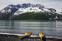 Forest Service kayak patrol in Harriman Fiord, Prince William Sound, Chugach National Forest, Alaska.