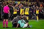 05.11.2019, Signal Iduna Park, Dortmund , GER, Champions League, Gruppenphase, Borussia Dortmund vs Inter Mailand, UEFA REGULATIONS PROHIBIT ANY USE OF PHOTOGRAPHS AS IMAGE SEQUENCES AND/OR QUASI-VIDEO<br /> <br /> im Bild | picture shows:<br /> Matteo Politano (Inter #16) wird behandelt, <br /> <br /> Foto © nordphoto / Rauch