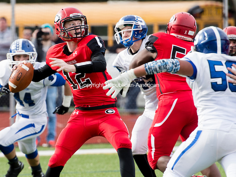 CHESHIRE, CT - 25 November 2015-112615EC05-- Cheshire's Will Graikoski looks for an opening during the Thanksgiving game with Southington. The Blue Knights won, 36-29. Erin Covey Republican-American.