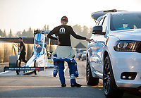 Feb 8, 2020; Pomona, CA, USA; NHRA top fuel driver Leah Pruett during qualifying for the Winternationals at Auto Club Raceway at Pomona. Mandatory Credit: Mark J. Rebilas-USA TODAY Sports