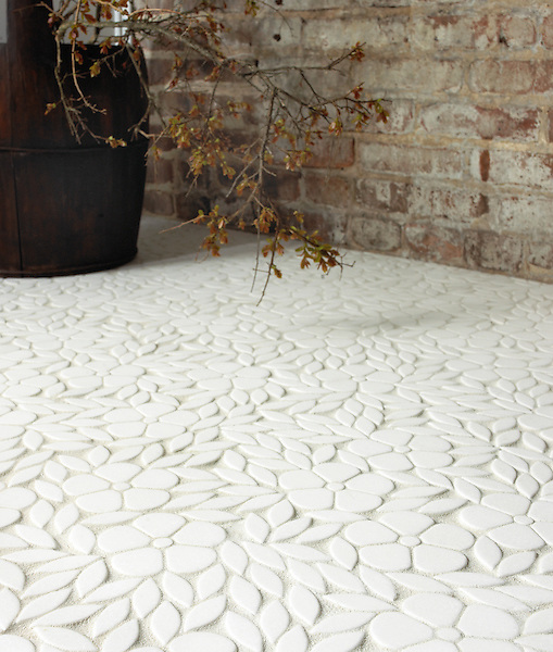 Jacqueline, a natural stone waterjet mosaic shown in tumbled Thassos, is part of the Silk Road Collection by Sara Baldwin for New Ravenna Mosaics. Take the next step: prices, samples and design help, http://www.newravenna.com/showrooms/