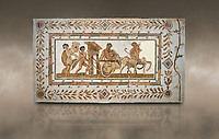 Picture of a Roman mosaics design depicting Dionysus drunk being transported on a chariot pulled by a centaur, they are followed by a Bacchante, follower of Bacchus, and a Satyr, from the ancient Roman city of Thysdrus. 3rd century AD House of Tertulla. El Djem Archaeological Museum, El Djem, Tunisia. Against an art background