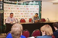 10-02-13, Tennis, Rotterdam,Press conference with Jo-Winfried Tsonga, left ATP communications manager Martin Dagahs