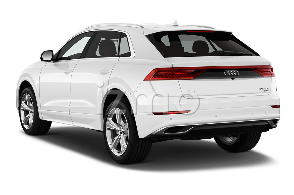 Car pictures of rear three quarter view of 2019 Audi Q8 - 5 Door SUV Angular Rear