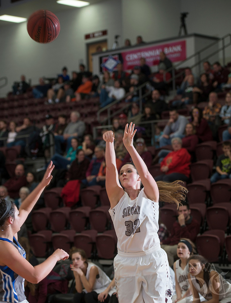 NWA Democrat-Gazette/ANTHONY REYES • @NWATONYR<br /> Hadlee Hollenback, Siloam Springs sophomore, shoots against Rogers Wednesday, Dec. 30, 2015 at Panther Gymnasium in Siloam Springs.