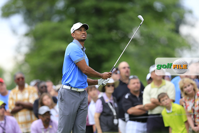 Tiger Woods (USA) tees off the 15th tee during Friday's Round 1 of the 2013 Bridgestone Invitational WGC tournament held at the Firestone Country Club, Akron, Ohio. 2nd August 2013.<br /> Picture: Eoin Clarke www.golffile.ie