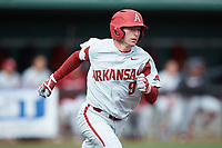Jax Biggers (9) of the Arkansas Razorbacks hustles down the first base line against the Charlotte 49ers at Hayes Stadium on March 21, 2018 in Charlotte, North Carolina.  The 49ers defeated the Razorbacks 6-3.  (Brian Westerholt/Four Seam Images)